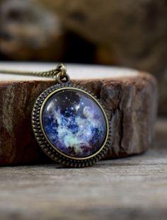 Universe pendant, Glass galaxy pendant, Nebula pendant, Dark universe necklace, Space pendant, Universe jewelry, Astronomy pendant UJ 076