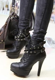 46a3c25187b6 Punk New Womens Studded High Heels Platform Lace-up Ankle Boots Shoes Black  -- buckles and studs and heels