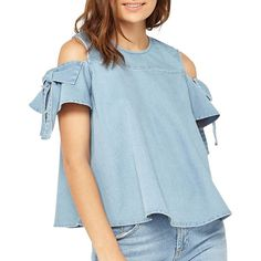 Miss Selfridge Women's Denim Bow Sleeve Top ($52) ❤ liked on Polyvore featuring tops, blue, short sleeve tops, miss selfridge tops, denim cold shoulder top, cold shoulder tops and bow top