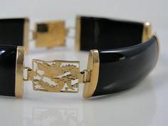 Beautiful Dragon Bracelet Vintage Onyx and Gold  by MSJewelers, $365.00