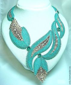 """Mint freshness"" - bead-embroidered neckpiece by Elena Shlyakhovoy (Zoly) based on a design by Irina Sidina, on livemaster.ru.   Japanese seed beads, Swarovski crystals, leather backing."