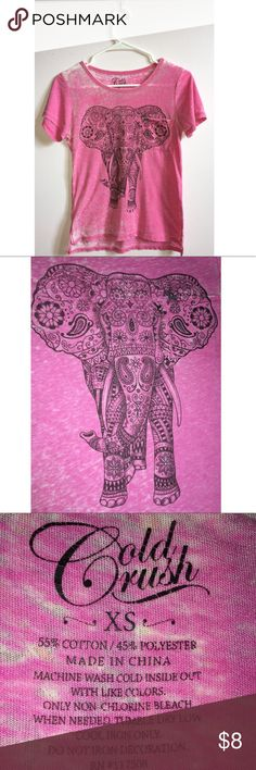 Pink elephant T-shirt Pink elephant t-shirt with bohemian designs. Never worn, great condition!🐘 Cold Rush Tops Tees - Short Sleeve