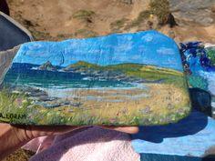 Constantine bay, Cornwall, acrylic on slate Constantine Bay, Cornwall, Painted Rocks, Slate, Paintings, Art, Art Background, Chalkboard, Painting Art