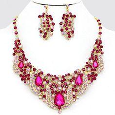 Statement Luxus Abendschmuck Schmuckset Kette Ohrringe 2D Design Kristall Pink Rosa Aurora Borealis