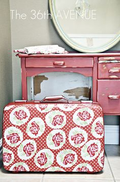 15 DIY Fabric Project Tutorials... These are awesome! #craft #diy       covered suitcase for storage