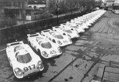 """#Porsche launched the #917 project in June 1968 after the International Automobile Federation (FIA) announced a new class of """"legal sports car"""", where the capacity could reach five liters and the minimum weight of 800 kilograms. Under the supervision of Ferdinand Piech, the 25 specimens of the new model racing cars were completed by April 1969 so the 917 could start their career in the same year. [...] #1000th"""