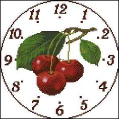 Orologio cigliege Cross Stitching, Cross Stitch Embroidery, Cross Stitch Patterns, Cross Stitch Heart, Cross Stitch Flowers, Pixel Art, Sewing Projects, Canvas, Clocks