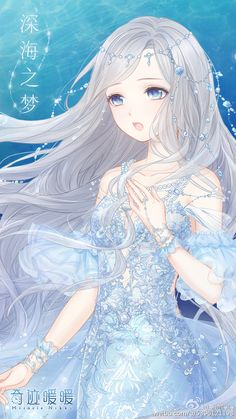 """奇迹暖暖 故事套装·""""夏沫·海歌"""" 【深海之梦】 ——当最后一抹夕阳消失在天边,艾丽莎悄悄从海浪里探出头,用最纯美的歌声诉说着对天空和大陆的向往。(这还是我暖吗!!美过头了啊!!)"""