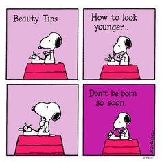 Snoopy's Beauty Tips: How to Look Younger   Peanuts Official via Twitter