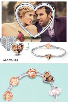 DIY Memorable Charms❤Upload Your Precious Photos Into The Charms, Glamulet Love Heart Charms 925 Sterling Silver Memorable Charm Fit All Brands Jewelry.Wonderful gifts for Happy New Year,Valentine,Mother's day,Teacher's Day,Christmas...