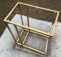 Ikea VITTSJO table spray painted in PlastiKote 'brilliant metallic'.