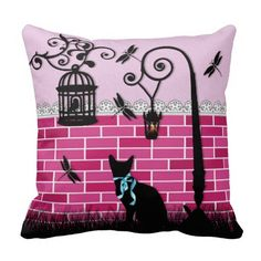 Whimsical cute cat & bird cage on pink vector wall pillows http://www.zazzle.com/whimsical_cute_cat_bird_cage_on_pink_vector_wall_pillow-189165121470930725