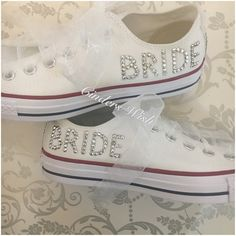 We use special platinum crystals on this design to make them extra sparkly! With personalisation on the sides and beautiful chiffon laces and bows they are truly irresistible! #wedding #shoes #weddingconverse#bridalconverse #bridal #converse #unique #bride #white #sparkly #sparkle #cinderswish