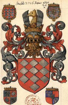 """Armes du comte de Lalaing, dédicacaire du manuscrit (f°1r) -- «Généalogie de la maison de Luxembourg et de celle des Baux, par Clement de Saint Ghin, par lui rédigée"""", dans Anc. 9891(2. 2. a) [BNF Ms Fr 5470]."""