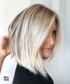 Angled Lob with Bright Blonde Balayage - like the cut Haircuts For Fine Hair, Cool Haircuts, Bob Hairstyles, Asian Hairstyles, Fringe Hairstyles, Blonde Hairstyles, Hairstyle Men, Formal Hairstyles, Wedding Hairstyles