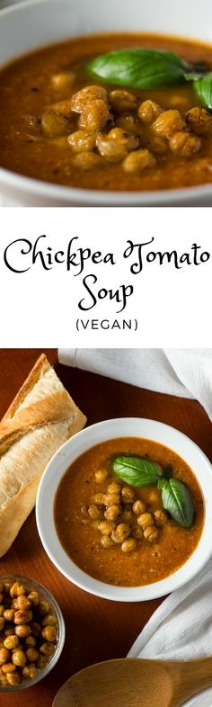 Vegan Chickpea Tomato Soup. The best part is the crunchy chickpea topping!