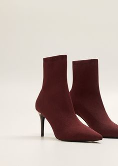 Boots and booties - Shoes for Women 2020 Mango Outlet, Heeled Boots, Shoe Boots, Ankle Boots, Boot Heels, Socks And Heels, Fashion Socks, Black Boots, Stiletto Heels