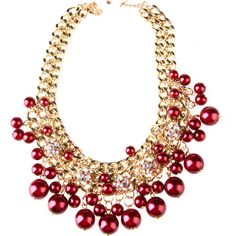 Wine Red Chunky Double Chain Beads Choker Necklace ($6.99) ❤ liked on Polyvore