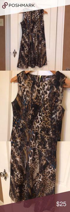 Animal print Dress Gold zipper closure in back...size 8...excellent condition...worn once...Jennifer Lopez Jennifer Lopez Dresses Mini