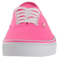 Vans Authentictm ((Neon Splatter) Neon Pink/True White) Skate Shoes ($45) ❤ liked on Polyvore featuring shoes, sneakers, leather skate shoes, white leather sneakers, white shoes, white trainers and vans sneakers