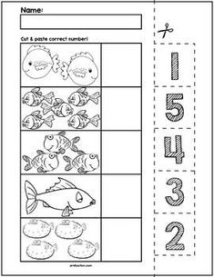 $1 | Teach counting skills with Fish! Great for teaching 1:1 counting skills and number recognition for numbers 1-5. No prep and great for math centers! #preschool #preschoolers #preschoolactivities #kindergarten #Homeschooling #mathcenters