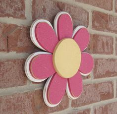 Hot Pink LAYERED DAISY for wall hanging girl bedroom by lisabees