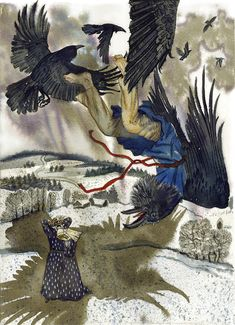 """The Seven Ravens"" is a popular fairy tale plot in different countries ( there are German fairy tale collected by the Brothers Grimm, Lithuanian fairy tale and so on. Brothers Grimm Fairy Tales, German Fairy Tales, Quoth The Raven, Different Birds, The Seven, Vikings, Crows, Moose Art, Sisters"