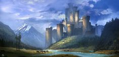 Castle in the Valley_C1 by SergeyZabelin building city fortress river mountains landscape location environment architecture | Create your own roleplaying game material w/ RPG Bard: www.rpgbard.com | Writing inspiration for Dungeons and Dragons DND D&D Pathfinder PFRPG Warhammer 40k Star Wars Shadowrun Call of Cthulhu Lord of the Rings LoTR + d20 fantasy science fiction scifi horror design | Not Trusty Sword art: click artwork for source