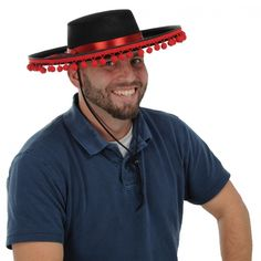 FaeryNiceThings : Adult size Black Felt Spanish Hat Red Band and Ball Fringe - Flamenco - Day of the Dead 60840