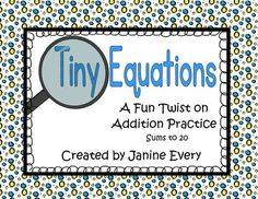 """Adding Sums to 20 - Super easy to set-up!  Students use a magnifying glass to """"search"""" for the tiny equations on the picture page.  This makes a great addition to your math centers or math tubs."""
