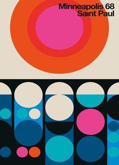 Minneapolis-Saint Paul 68 by Bo Lundberg | Vintage Minneapolis-Saint Paul 68 | #Retro #Vintage #Travel #Cities #Multicoloured #JUNIQE | See more designs at www.juniqe.co.uk