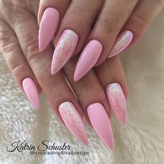 23 Light Pink Nail Designs and Ideas to Try Light Pink Stiletto Nails Pink Stiletto Nails, Cute Pink Nails, Light Pink Nails, Pink Ombre Nails, Pink Acrylic Nails, Super Cute Nails, Fancy Nails, Glitter Nails, Nail Pink