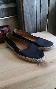 Aerosoles Stitch N Turn Black Slip On Canvas Espadrilles Size 6M Flats Casual  | eBay