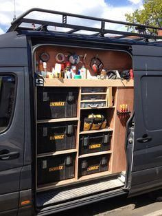 Van racking, tool storage, work in progress. May be for tools, but shows thought that would work for off road trailer or rear deck storage of Truck Bed Storage, Van Storage, Tool Storage, Storage Systems, Storage Solutions, Trailer Organization, Trailer Storage, Organization Ideas, Storage Ideas