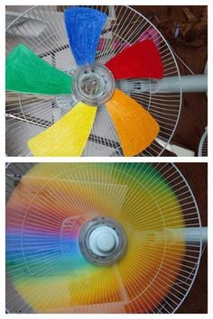 Painting the blades of a fan different colors in order to see a rainbow wheel when the fan is in motion.
