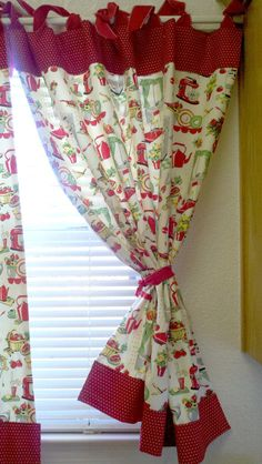 Retro Kitchen Tools Curtains Red Set Of 2 By Katherinemck On Etsy, $60.00  Holly Says