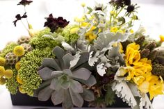Monochromatic green floral arrangement