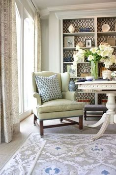 Marika Meyers designed one of the most relaxing rooms in the house: the morning room. Without detracting from the calm, she infused the space with a mix of patterns for a look that's as peaceful as it is polished.