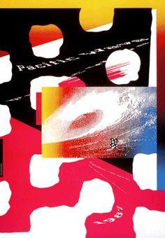 """April Greiman – Affiche pour l'exposition """"Pacific Wave"""", Musée Fortuny, Venise (1987)"""