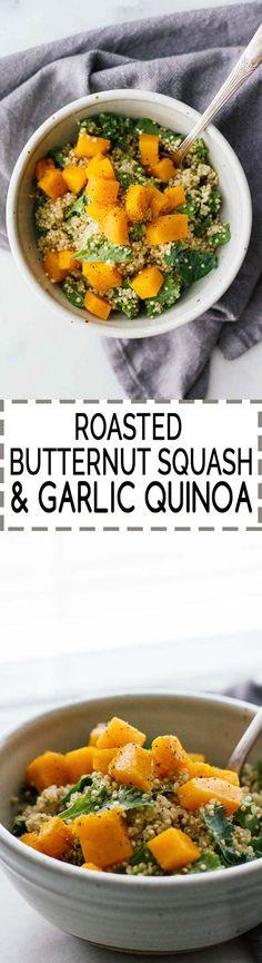 Roasted Butternut Squash & Garlic Quinoa! Vegan, vegetarian, gluten-free, and under 30 minutes!