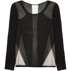 Helmut Lang Sheer Panelled Open Knit Top ($425) ❤ liked on Polyvore