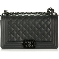 CHANEL Caviar Quilted Medium Boy Flap So Black ❤ liked on Polyvore featuring bags, handbags, quilted handbags, leather shoulder bag, evening handbags, real leather purses and chanel purse