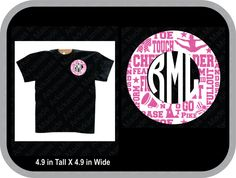 Cheerleader monogram, cheer leading pocket monogram, girls cheer leading. Many colors to choose from! - pinned by pin4etsy.com