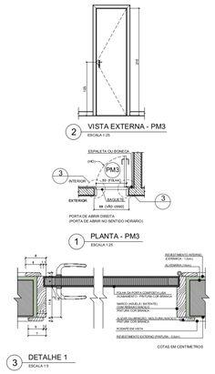 Exemplo de porta de madeira utilizada em sanitários residenciais Architecture Blueprints, Architecture Drawing Art, Interior Architecture, Chinese Architecture, Futuristic Architecture, Joinery Details, Construction Drawings, Door Detail, Detailed Drawings