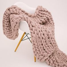 Blush Hand Knit Merino Wool Throw Throw is made from 23 Micron Merino Chunky Wool Yarn, naturally sourced from non-mulesing farms! Small - Small Crib Decorative Throw/Lap Blanket Medium - Couch Decorative Blanket or Full/Twin/Queen Bed Throw Large - Knot Blanket, Couch Blanket, Chunky Blanket, Throw Blanket Size, Blanket Sizes, Throw Blankets, Knitted Blankets, Merino Wool Blanket, Wool Yarn