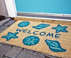 Coastal Decor, Beach, Nautical Decor, DIY Decorating, Crafts, Shopping | Completely Coastal Blog: Nautical and Beach Doormats that Bring Color to your Step