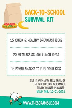 Just in time for Back to School season, The Scramble meal planning service gives you everything you need to get more nutrition and energy into your meals and snacks with ease. Get a free back-to-school survival kit with each free trial or renewed membership with everything you need for quick and healthy breakfasts, lunches, dinners and snacks for your family
