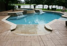 Forget the hot tub/waterfall feature.  Walk-in pool with sun ledge in pool.