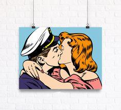 Marine Kiss Comic Book Style Romantic Pop Art Vector Poster.