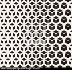 Vector Seamless Black And White Geometric Cube Shape Lines Halftone Grid Pattern